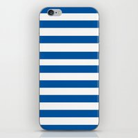 preppy iPhone & iPod Skins featuring Preppy Navy & White Stripe by Sweet Karalina