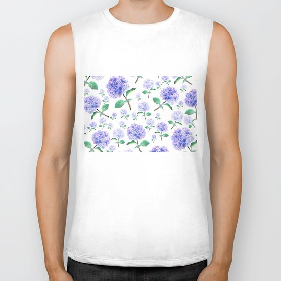 purple blue hydrangea pattern Biker Tank