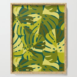 Monstera Leaves in Green Serving Tray
