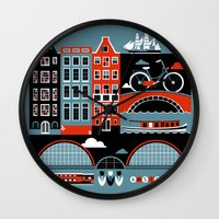amsterdam Wall Clocks featuring Amsterdam by koivo