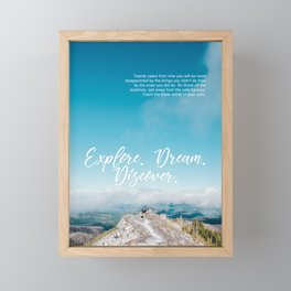 EXPLORE / DREAM / DISCOVER Framed Mini Art Print
