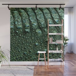 Green Alligator Leather Print Wall Mural