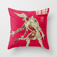 kaiju Throw Pillows featuring Kaiju Anatomy by MeleeNinja