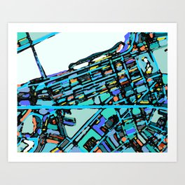 Abstract Map - Boston Back Bay Art Print