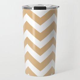 Burlywood - brown color - Zigzag Chevron Pattern Travel Mug
