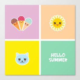 Hello Summer bright tropical card design, ice cream, sun, cat. Kawaii cute face. Canvas Print