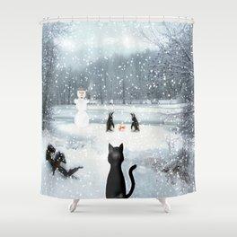 Cat on tour Shower Curtain