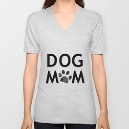 Black paw print with hearts. Dog mom text. Happy Mother's Day background Unisex V-Neck