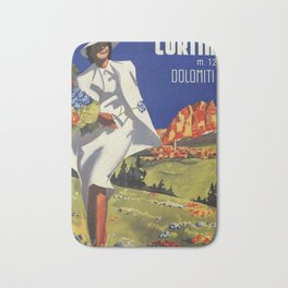Vintage Italian Alps Cortina summer travel Bath Mat