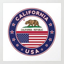 California, California t-shirt, California sticker, circle, California flag, white bg Art Print