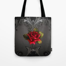 Gothic Glamour Red Rose Black Ornamental Glam Tote Bag
