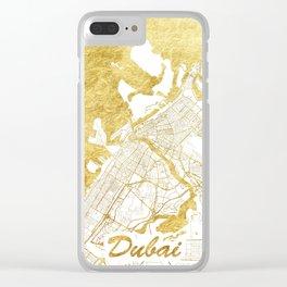 Dubai Map Gold Clear iPhone Case