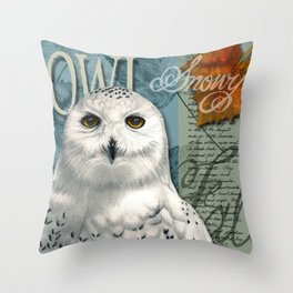 The Snowy Owl Journal Throw Pillow