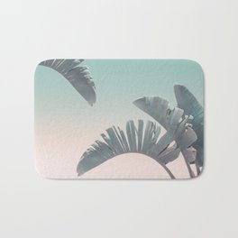 Tropical Palm Leaves In Pastel Light Bath Mat