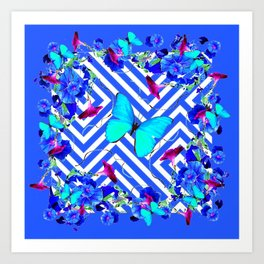 Geometric  Blue Butterflies &  Purple Morning Glories Art Print