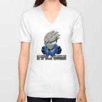 garrus V-neck T-shirts featuring Garrus Vakarian Is My Space Boyfriend by Maggie Davidson