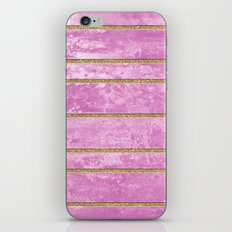 Abstract Painting with Golden Stripes - Pink iPhone Skin