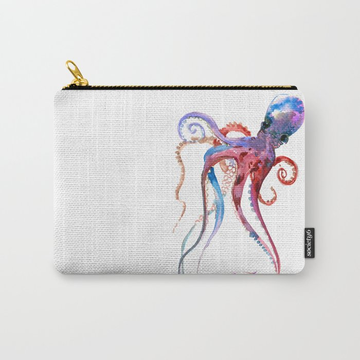 Octopus, blue red purple octopus art, octopus design Carry-All Pouch