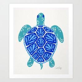 Sea Turtle – Blue Palette Art Print