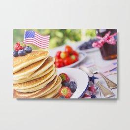 Stack of pancakes with fresh fruit Metal Print