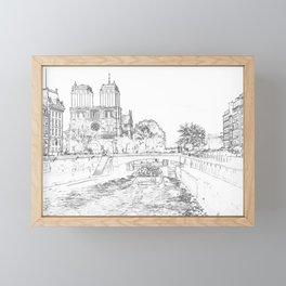 Illustration of Notre Dame de Paris Framed Mini Art Print