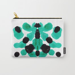 Neon Turquoise & Black Ink Blot Pattern Carry-All Pouch