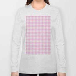 Blush pink white gingham 80s classic picnic pattern Long Sleeve T-shirt
