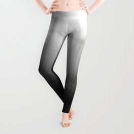 Modern Black and White Watercolor Gradient Leggings