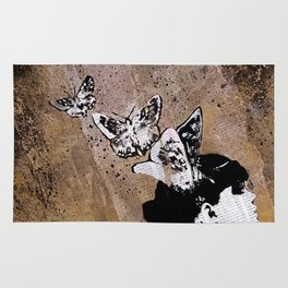 Long Gone Whisper II (street art graffiti painting, girl with butterflies) Rug