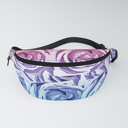 closeup pink rose and blue rose texture pattern abstract background Fanny Pack