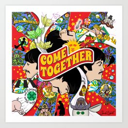 Come Together (Red and Blue) Art Print