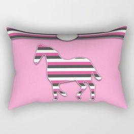Horse Pink Stripes Animal Pattern Design Rectangular Pillow
