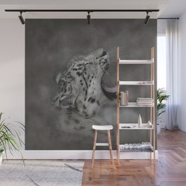 Yawning Snow Leopard Wall Mural
