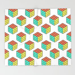 Rubiks Cube Pattern Throw Blanket