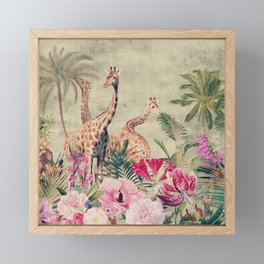 Vintage & Shabby Chic - Tropical Animals And Flower Garden Framed Mini Art Print