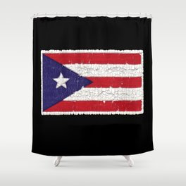 Puerto Rican flag with distressed textures Shower Curtain