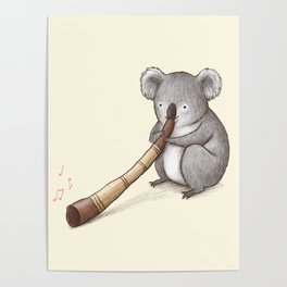 Koala Playing the Didgeridoo Poster