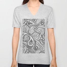 Black white hand painted watercolor butterfly abstract floral Unisex V-Neck