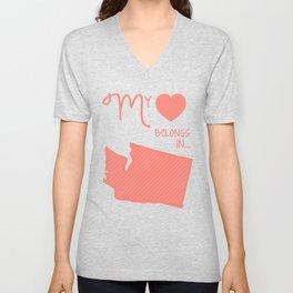 My Heart Belongs in Washington Unisex V-Neck