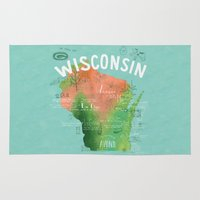 wisconsin Area & Throw Rugs featuring Wisconsin Map by Stephanie Marie Steinhauer