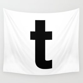 letter T (Black & White) Wall Tapestry