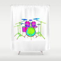 drum Shower Curtains featuring Colorful Drum Kit by PhantomLiving