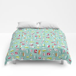 Multicolour Campers on aqua Comforters