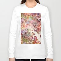 baltimore Long Sleeve T-shirts featuring Baltimore map by MapMapMaps.Watercolors