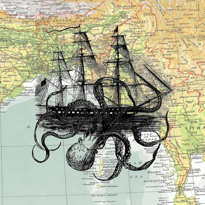 Octopus Attacks Ship on map background Duvet Cover