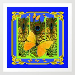 BLUE ART NOUVEAU YELLOW BUTTERFLIES GREEN ART Art Print