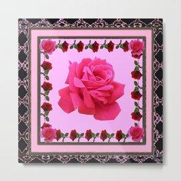 ORNATE BLACK &  PINK ROSE  ABSTRACT  GEOMETRIC Metal Print