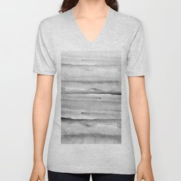 Foggy view abstract landscape paintin - Grayscale minimal design Unisex V-Neck