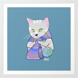Autumn and winter cats - knitting Art Print