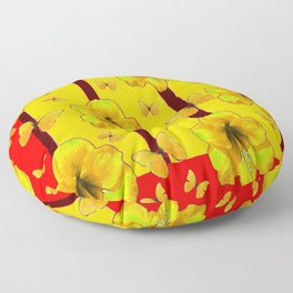 """FOR THE LOVE OF BUTTERFLIES"" RED-YELLOW ART Floor Pillow"